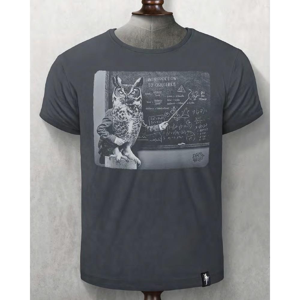 Dirty Velvet Owlgebra T Shirt Charcoal