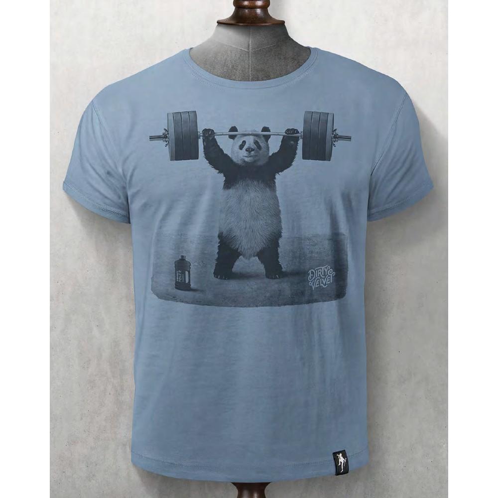 Dirty Velvet Panda Power T Shirt Noble Blue