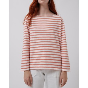 Boat Slub Stripe Top White/Rose