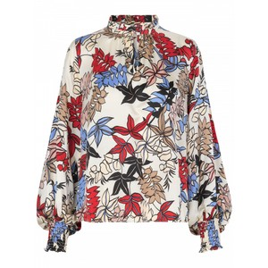 Jessa Pleat Nk Floral Blouse Ivory/Multi