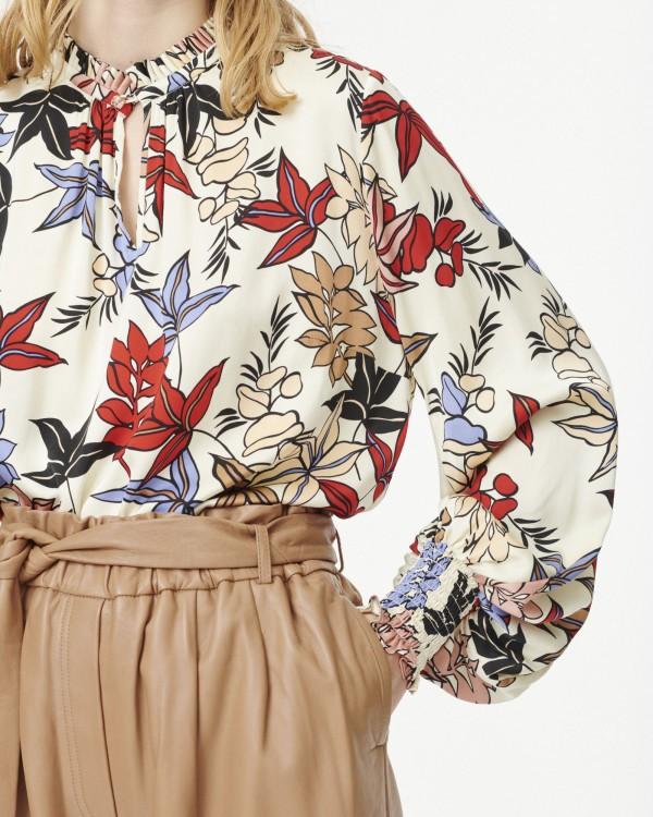 Munthe Jessa Pleat Nk Floral Blouse Ivory/Multi
