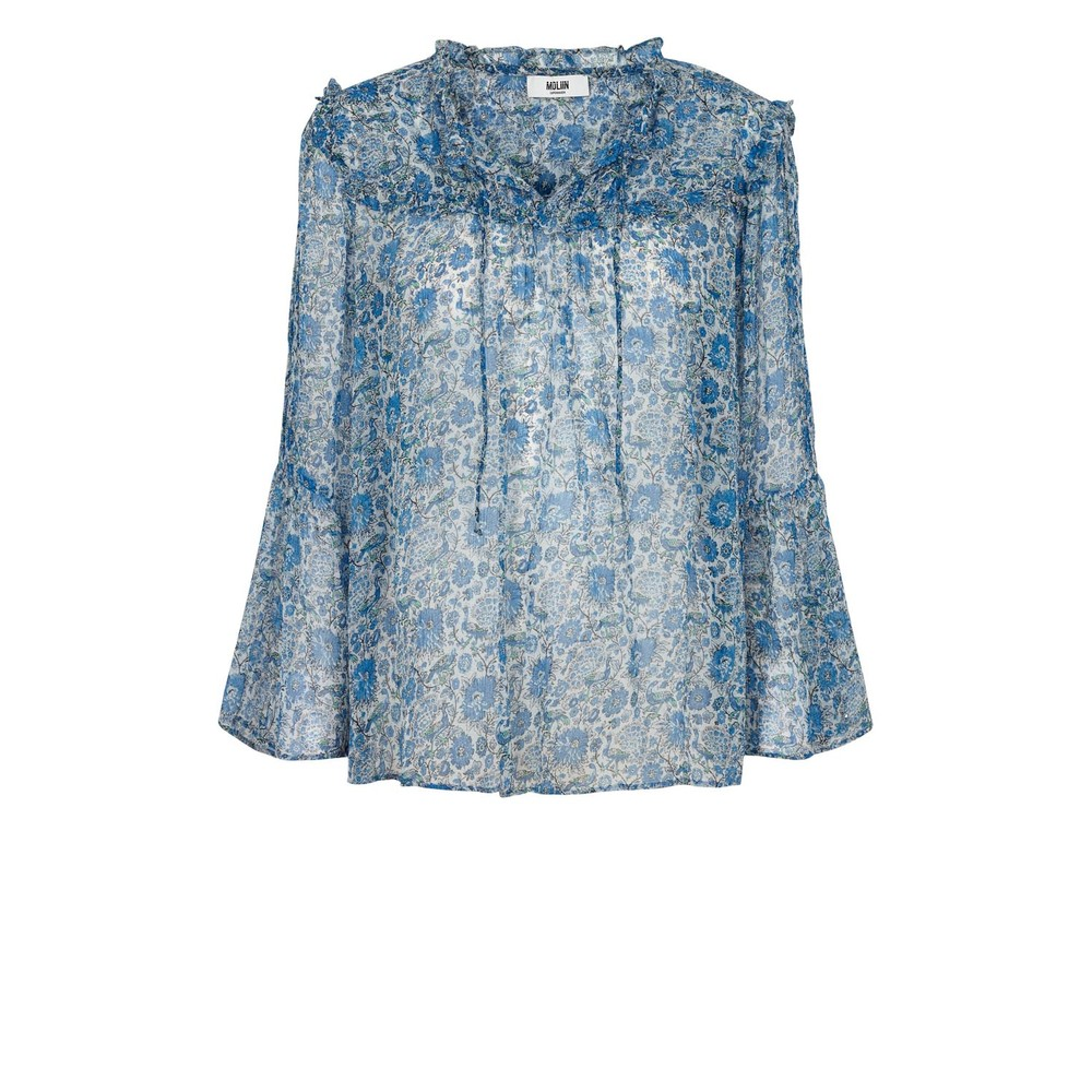 Moliin Fica Floral Print Tie Neck Blouse French Blue