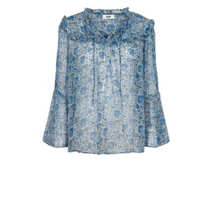 Fica Floral Print Tie Neck Blouse French Blue
