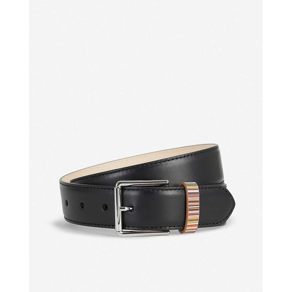 Paul Smith Accessories Leather Belt W/Stripe Keeper Black