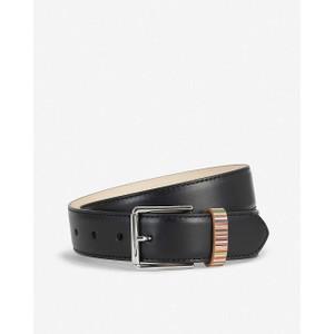 Leather Belt W/Stripe Keeper Black