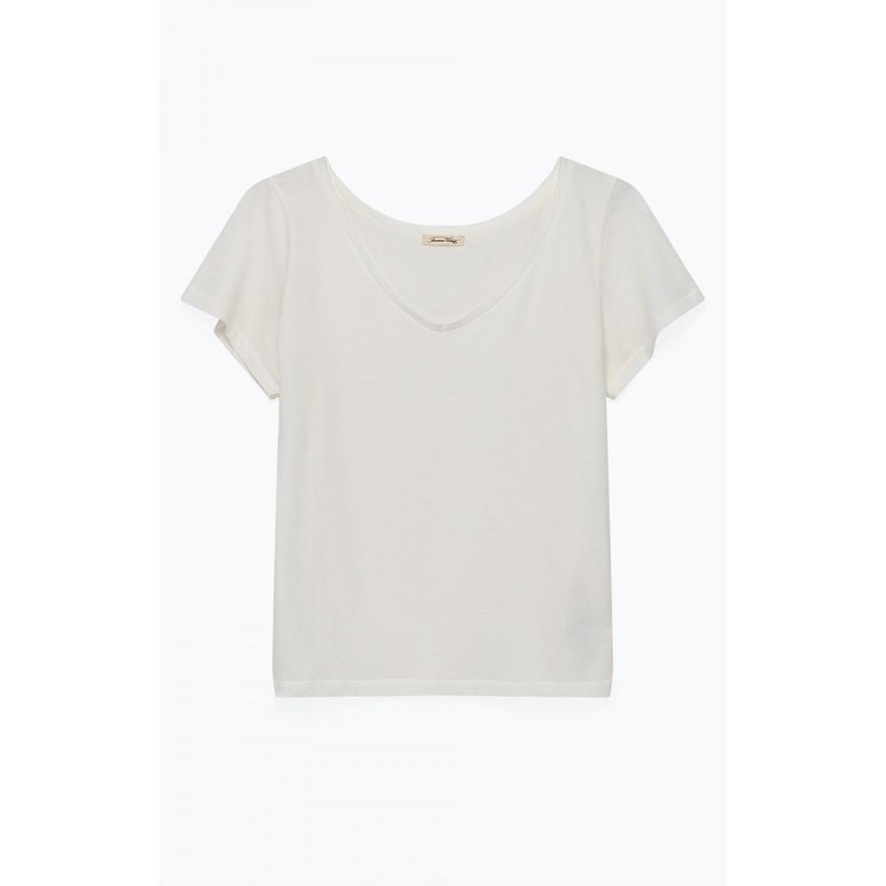 American Vintage Bipcat V Neck T Shirt White