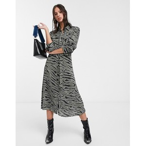 Levete Room Zebra Print Shirt Dress Khaki
