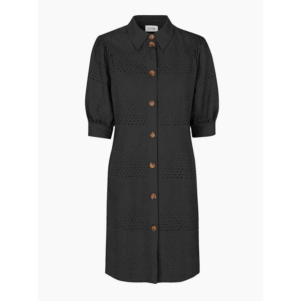 Levete Room Isalouise S/S Emb Ang Dress Black