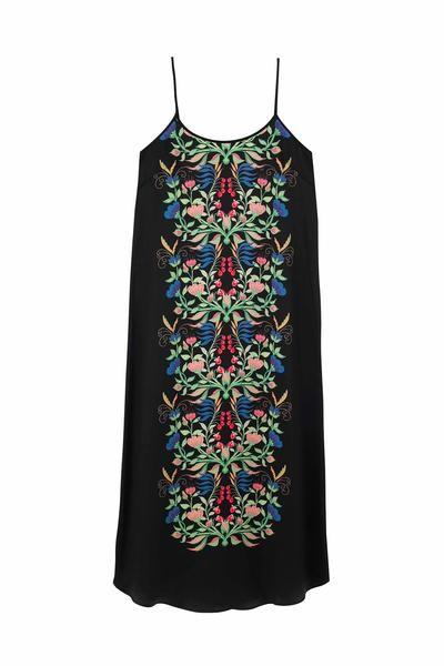 Yolke Anais Juno Silk Slip Dress Black/Multi