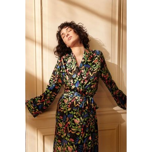 Anais Silk Dressing Gown Black/Multi