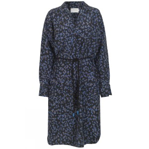 Exotic Printed Dress w Belt Dark Navy/Blue