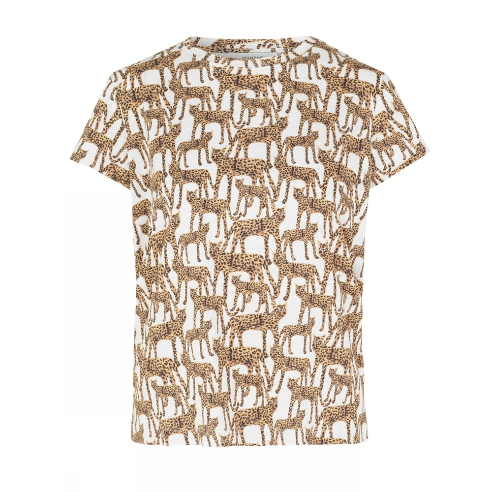 Munthe Jeramy Cat Print T-Shirt Ivory/Multi