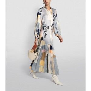 Emmanuel L/S Printed Dress Powder Blue/Multi