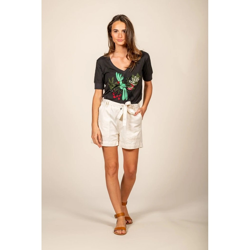 Five Felicie Belted Short Off White