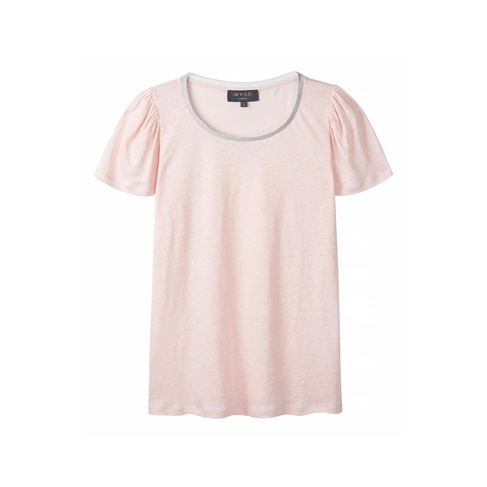 Wyse London Lilly Lurex Trim Puff Sleeve Tee Pink