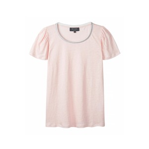 Lilly Lurex Trim Puff Sleeve Tee Pink