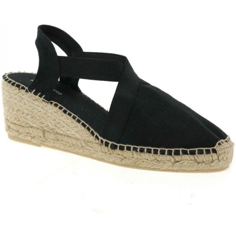Toni Pons Ter Canvas Wedge with Stretch Sides Black