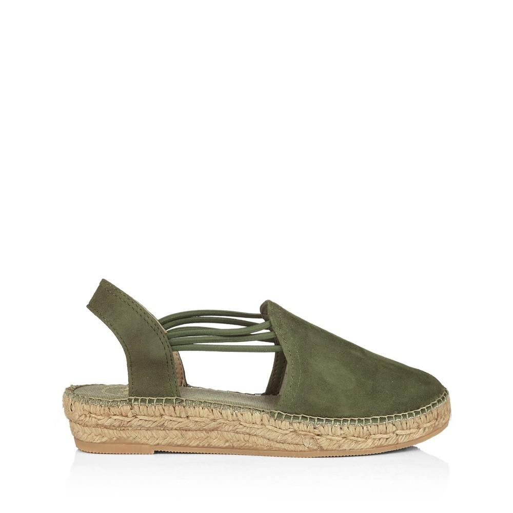 Toni Pons Nuria Suede Shoe with Stretch Sides Khaki