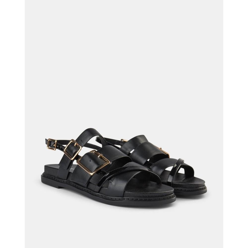 Shoe The Bear Joy Multi Strap Leather Sandal Black