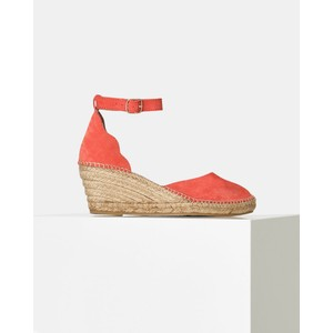 Shoe The Bear Salome Ankle Strap Wedge in Coral Red
