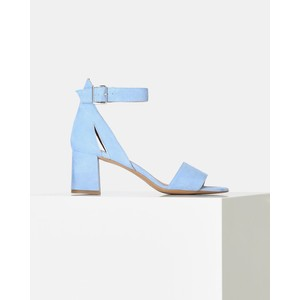 May Wide Strap Block Heel Shoe Light Blue