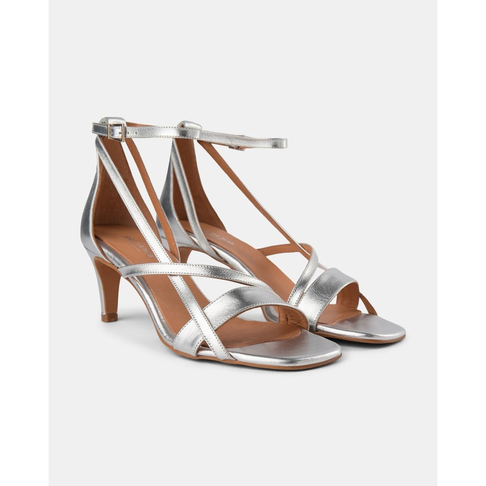 Shoe The Bear Roseanna Strap Heeled Sandal Silver