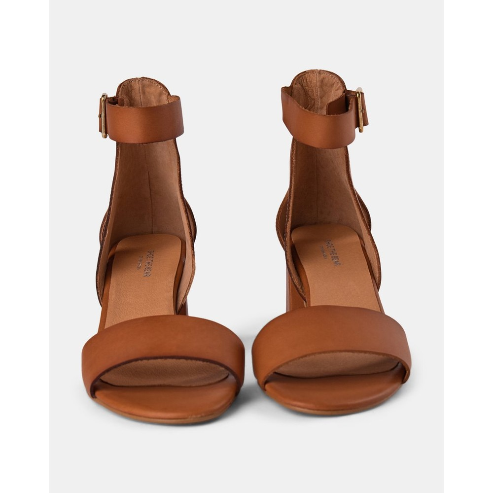 Shoe The Bear May Block Heel Leather Sandal Tan