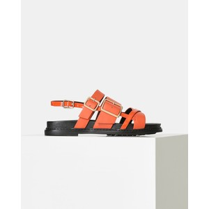 Joy Multi Strap Leather Sandal Coral Red