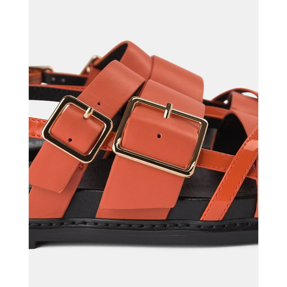 Shoe The Bear Joy Multi Strap Leather Sandal Coral Red