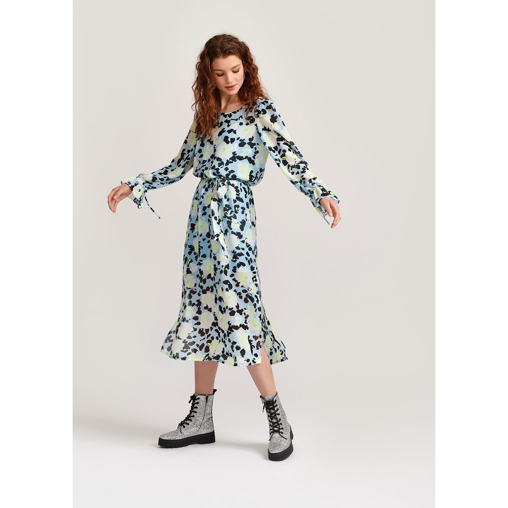 Essentiel Antwerp Vekken Floral Dress w Slip/Belt Light Blue/Multi