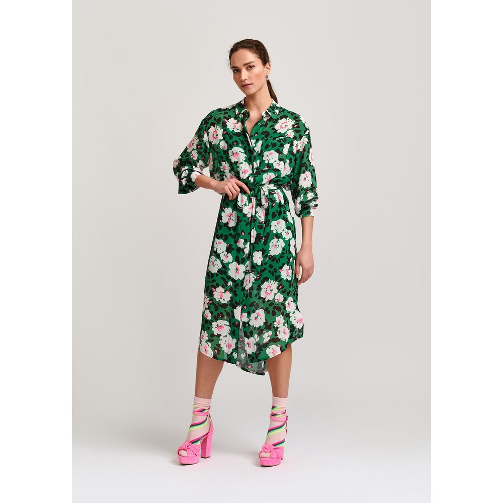 Essentiel Antwerp Voho Floral Shirt Dress w Slip Green/Multi