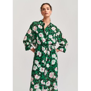 Voho Floral Shirt Dress w Slip Green/Multi