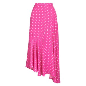 Essentiel Antwerp Vadorable Dot Asym Hem Skirt Fuchsia/White