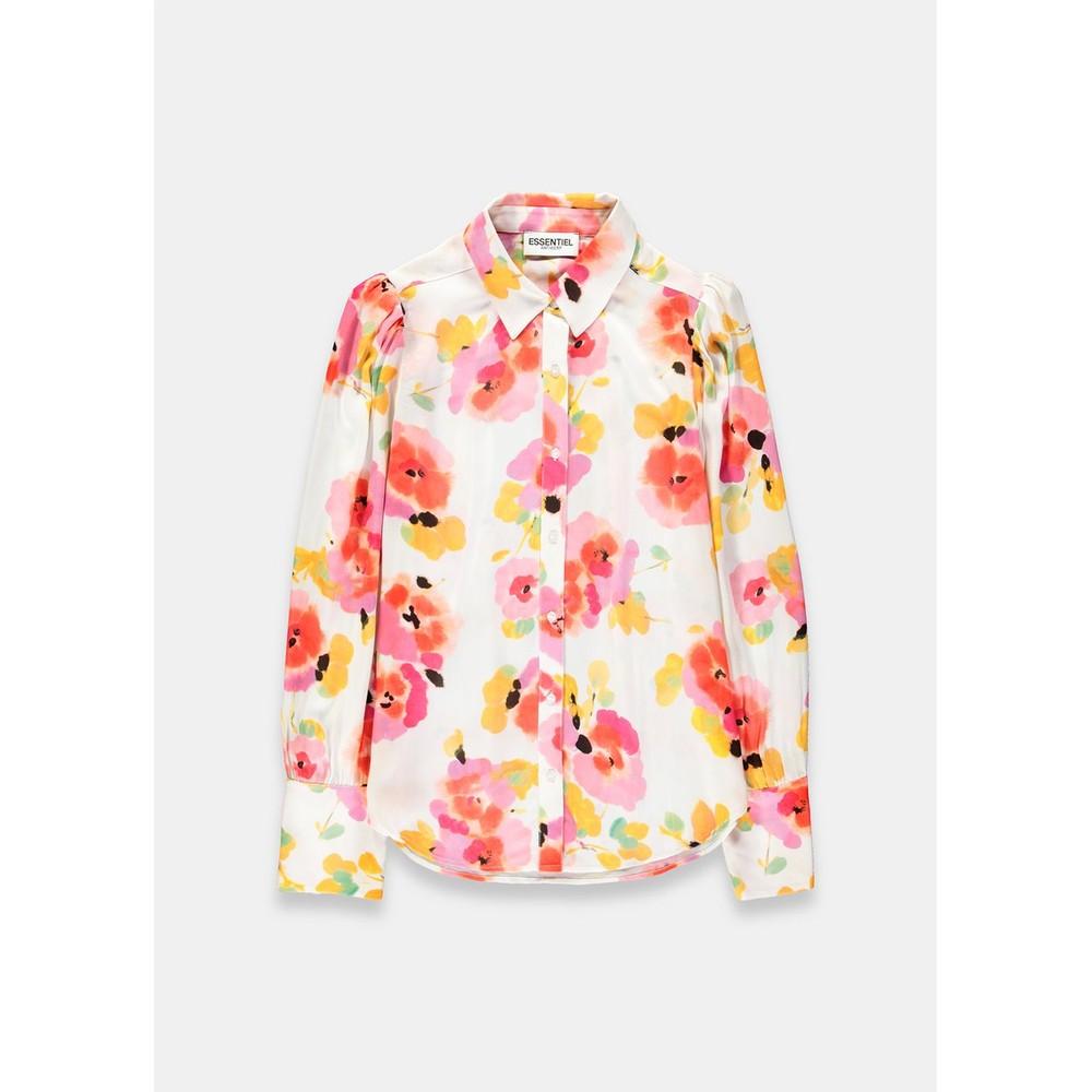 Essentiel Antwerp Vileda Floral Big Shldrs Shirt Off White/Multi