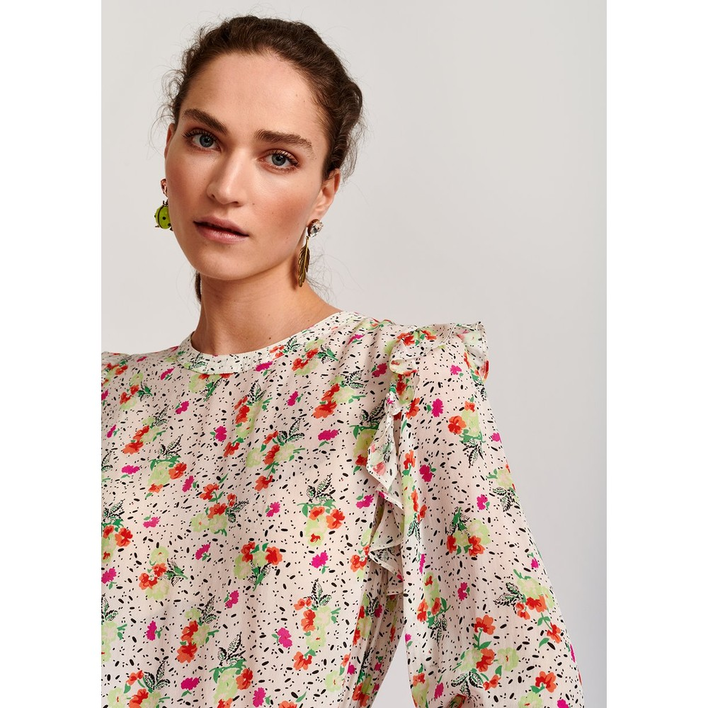 Essentiel Antwerp Varryme L/S Floral Frill Top White/Multi