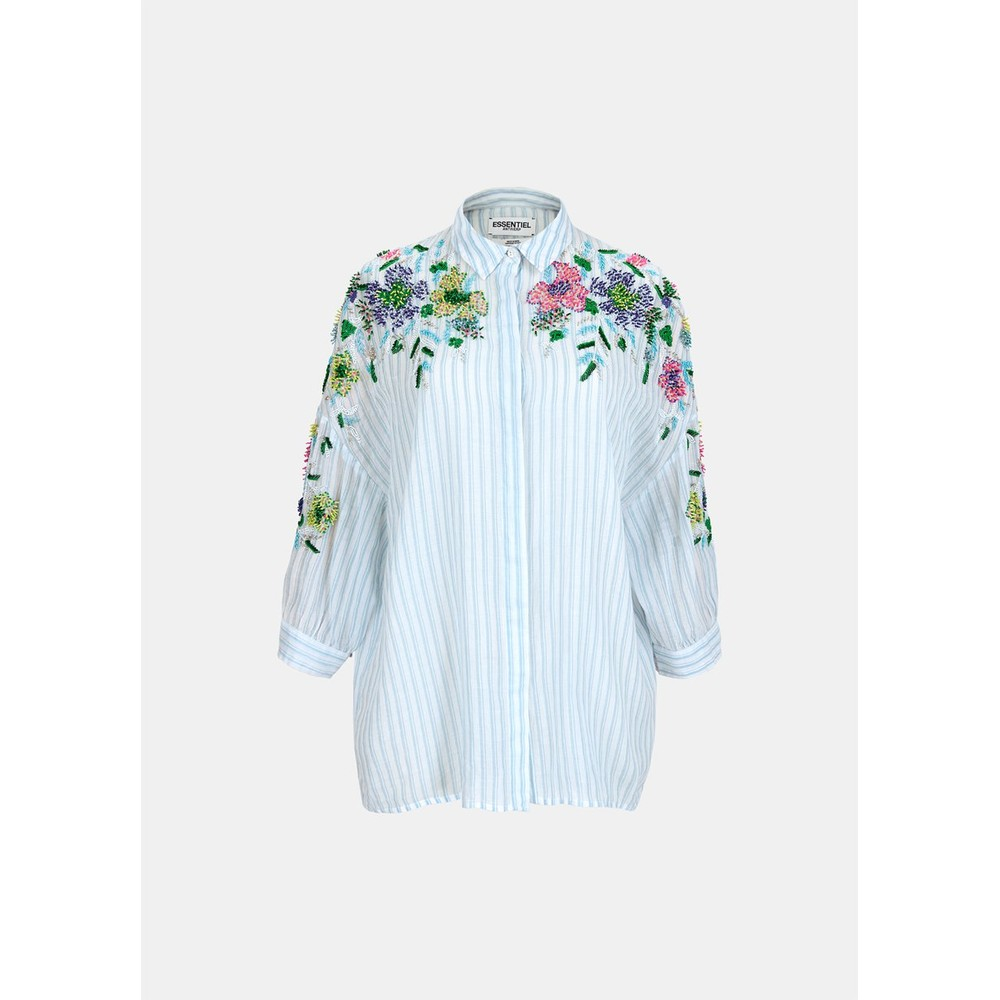 Essentiel Antwerp Veigns Beaded Stripe Shirt Blue/White/Multi