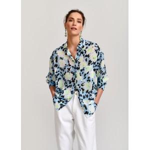 Veccioni Floral O/Sized Shirt Pale Blue/Multi