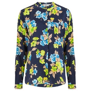 Essentiel Antwerp Vanne Floral/Dot Silk Shirt Navy/Multi