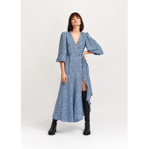 Vanessa Spots Wrap Dress Light Blue/Black