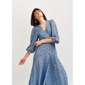 Essentiel Antwerp Vanessa Spots Wrap Dress Light Blue/Black