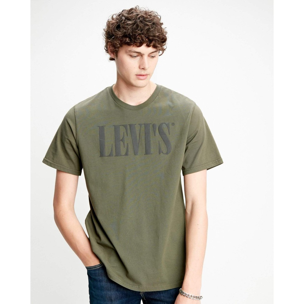 Levis 90s Serif Logo Relaxed Tee Olive Night