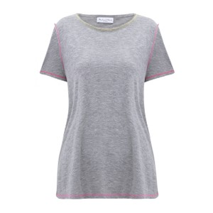 Brittany Contrast Stitch Tee Heather Grey/Pink
