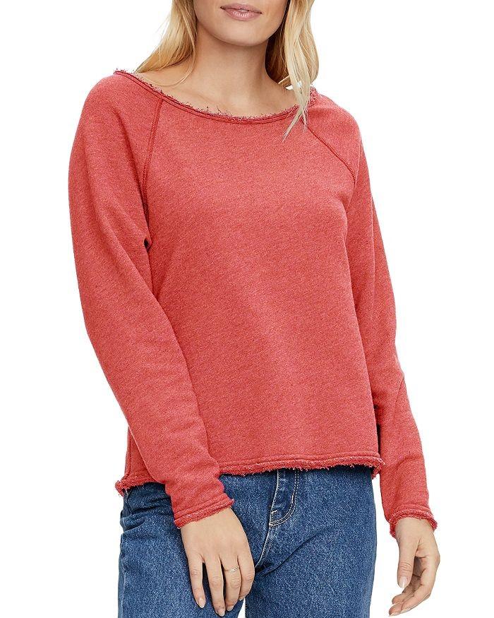 Michael Stars Sheena BoatNk Raw Edge Sweater Geranium