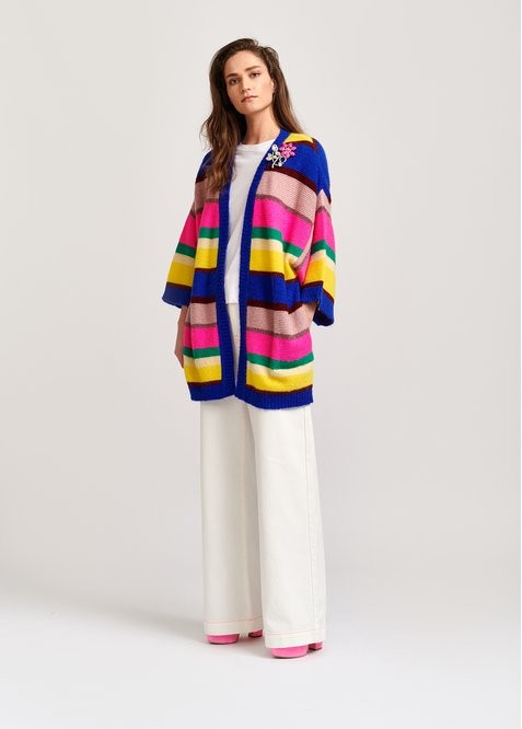 Essentiel Antwerp Vallista S/S Stripe Cardigan Bright Multi