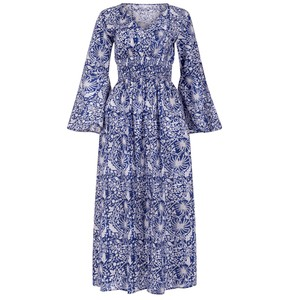 Senorita Bell Sleeves Dress Indigo Jungle