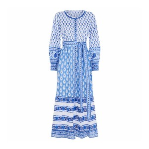 Panama L/S Dress with Tie Belt Provencal