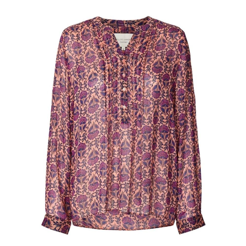 Lollys Laundry Helena Floral/Lurex Blouse Purple/Multi