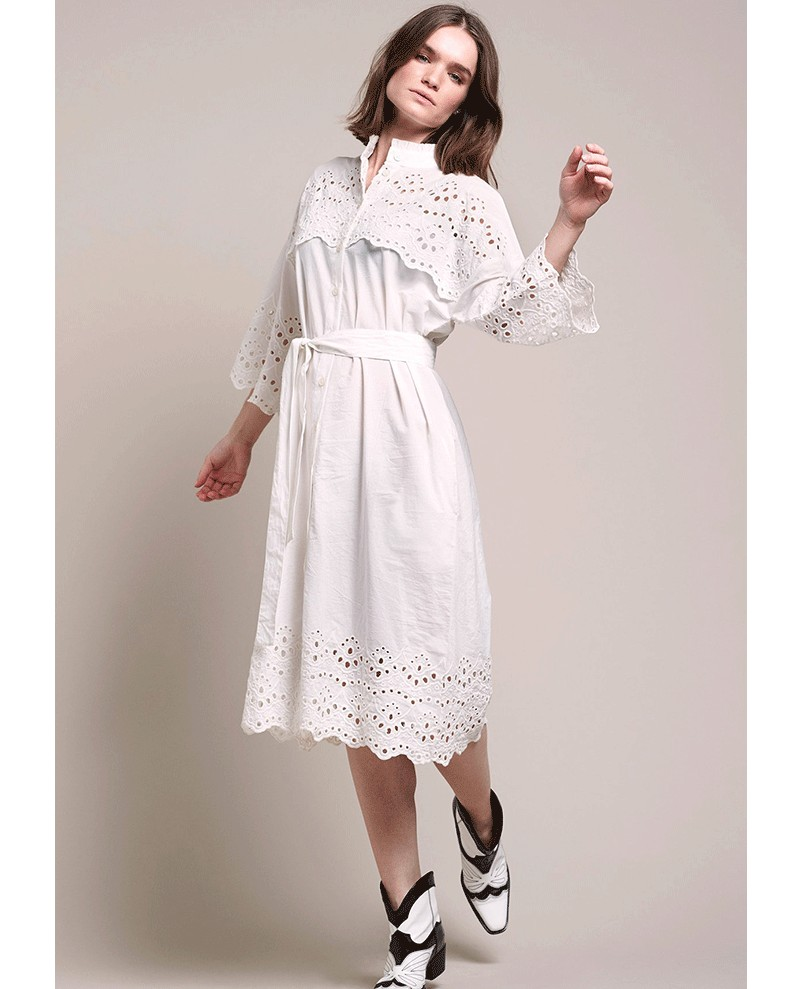 Lollys Laundry Tumi Emb Anglaise Dress White