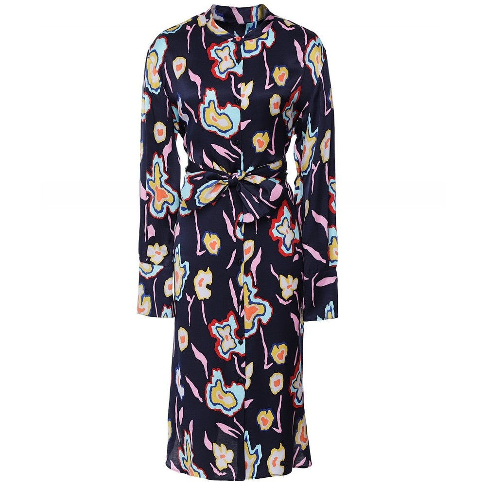 Paul Smith Womens L/S Painted Flowers Dress Navy/Multi