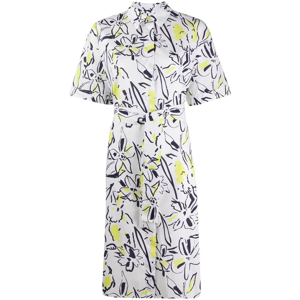 Paul Smith Womens S/S Print Belted Shirt Dress White/Black/Yellow